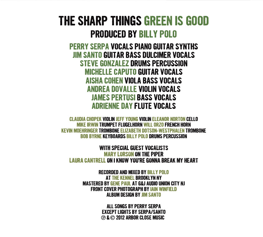 The Sharp Things, Green Is Good album cover [inside]