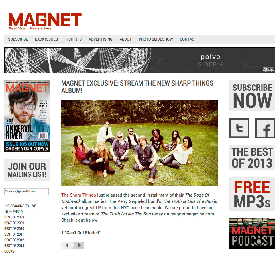 Exclusive album stream of The Truth Is Like The Sun by The Sharp Things on magnetmagazine.com
